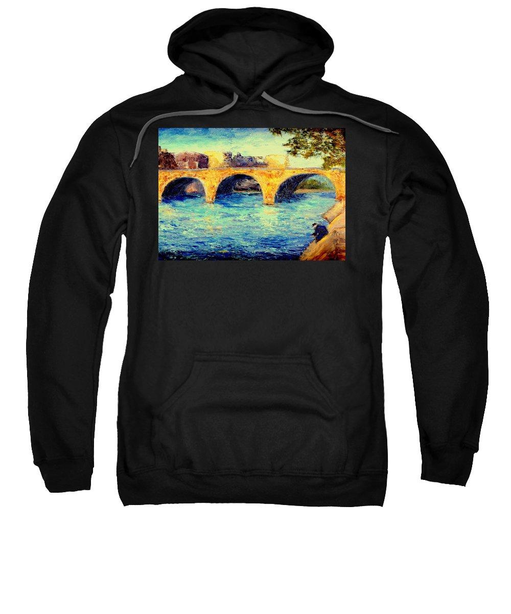 Impressionism Sweatshirt featuring the painting River Seine Bridge by Gail Kirtz