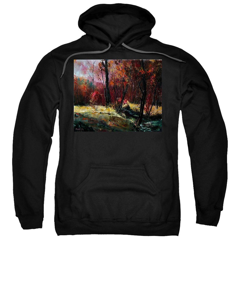 River Sweatshirt featuring the painting River Ywoigne by Pol Ledent