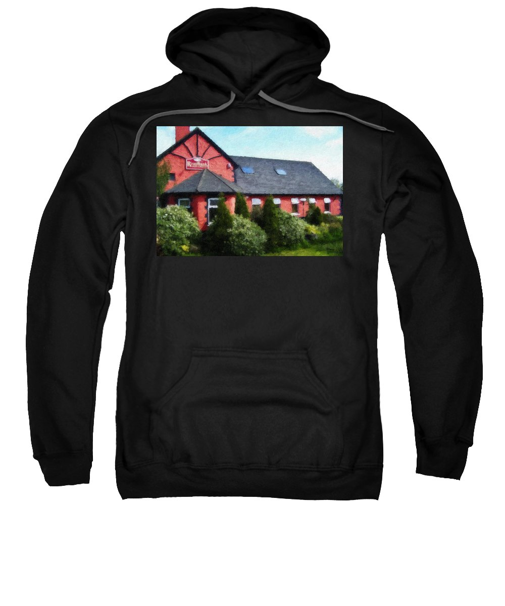 Ireland Sweatshirt featuring the painting Riverbank Restaurant Riverstown Ireland by Teresa Mucha