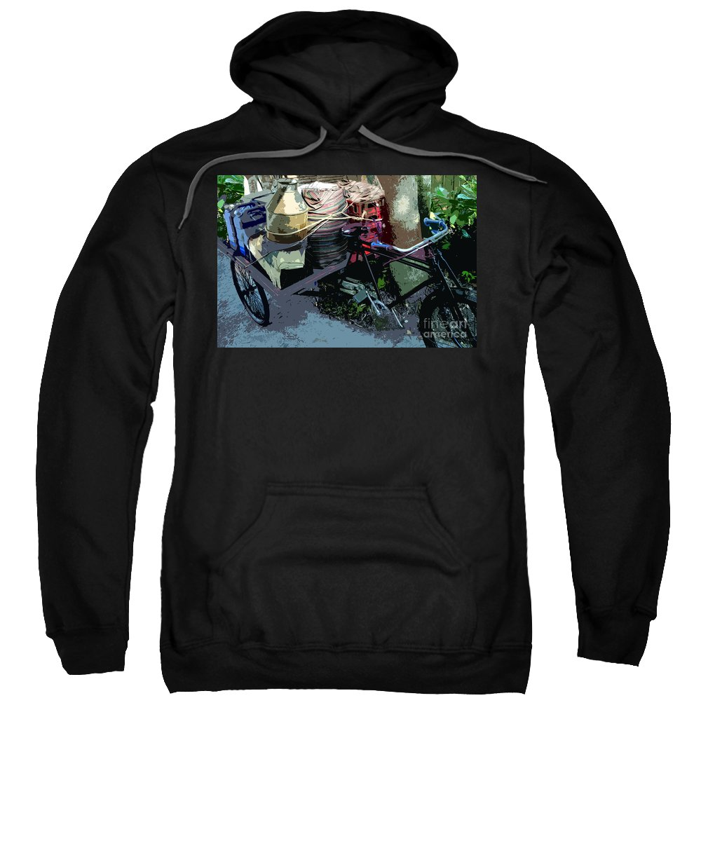 Bicycle Sweatshirt featuring the painting Roadside Stop by David Lee Thompson