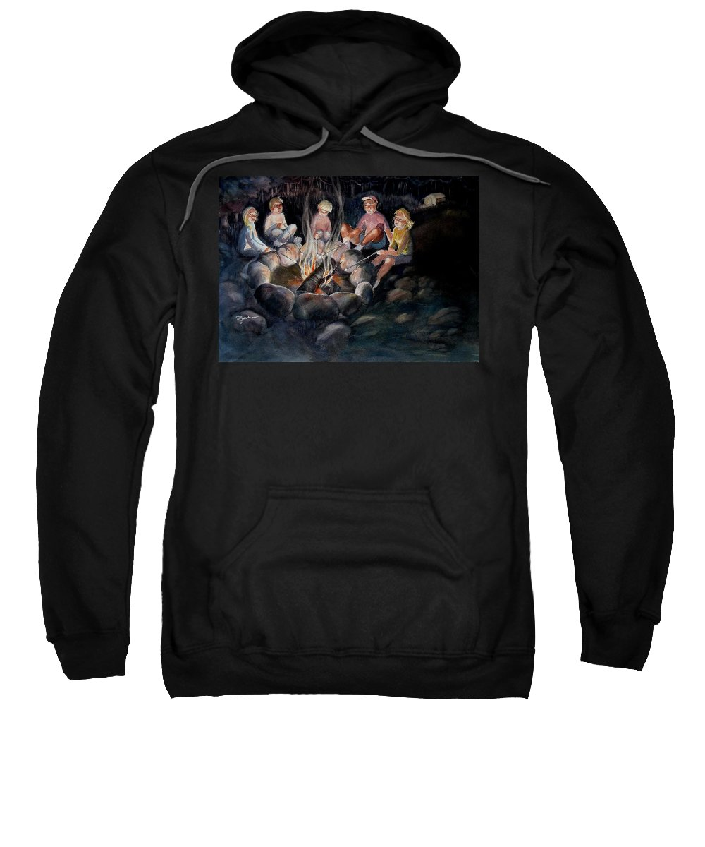 Family Sweatshirt featuring the painting Roasting Marshmallows by Marilyn Jacobson