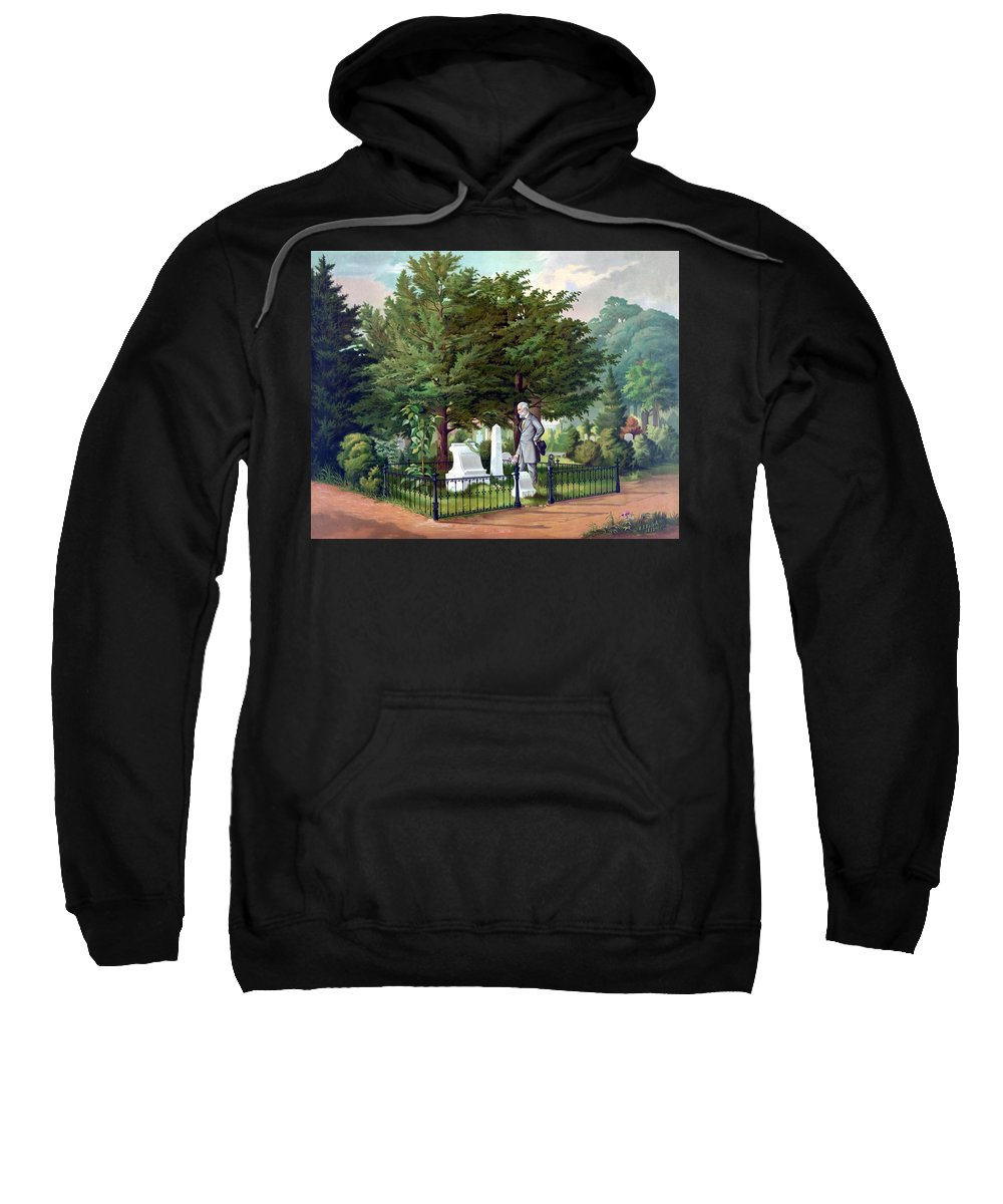 Robert E Lee Sweatshirt featuring the painting Robert E. Lee Visits Stonewall Jackson's Grave by War Is Hell Store