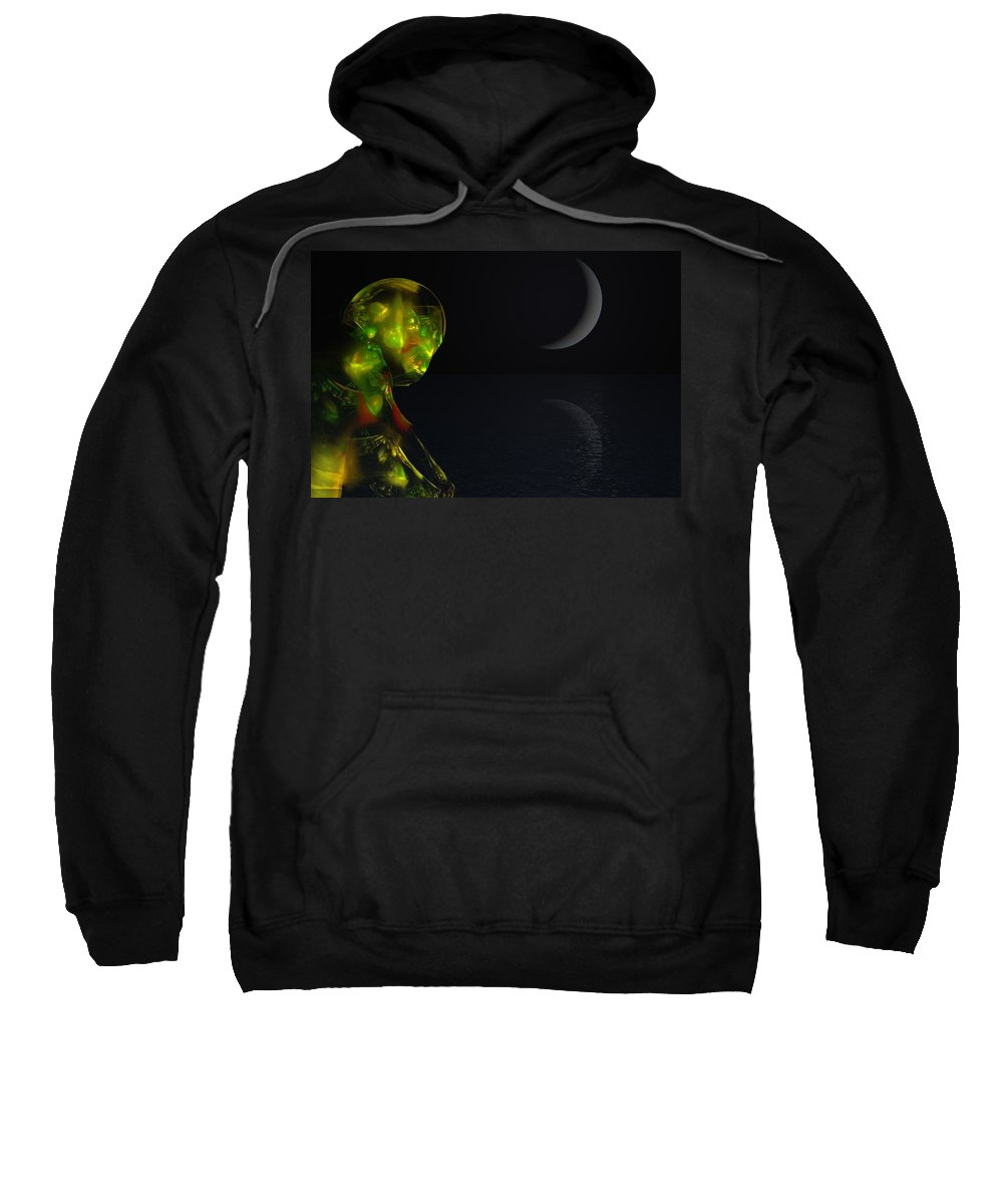 Abstract Digital Painting Sweatshirt featuring the digital art Robot Moonlight Serenade by David Lane