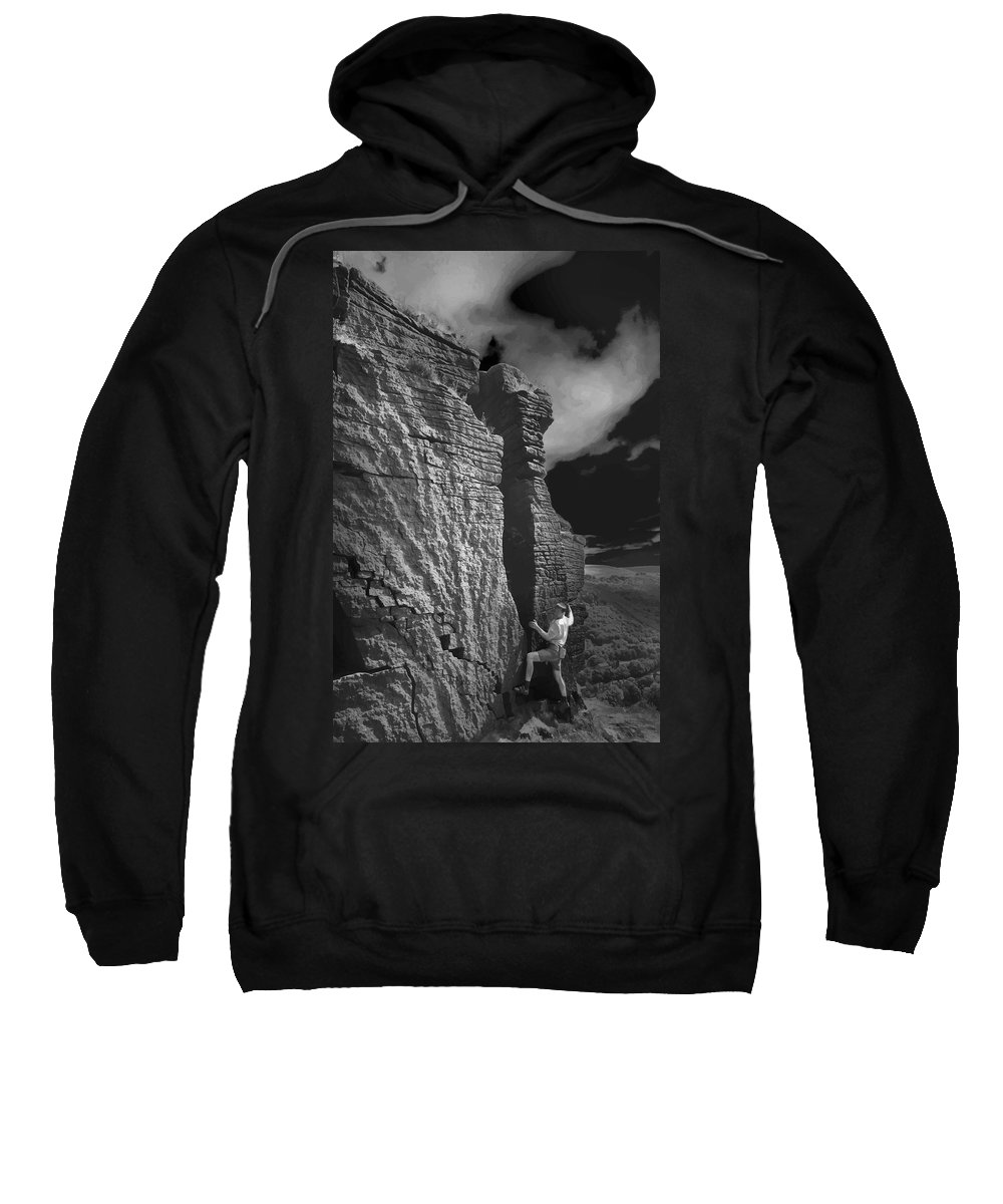 Black And White Sweatshirt featuring the photograph Rock Climber Monochrome Landscape by Elizabetha Fox