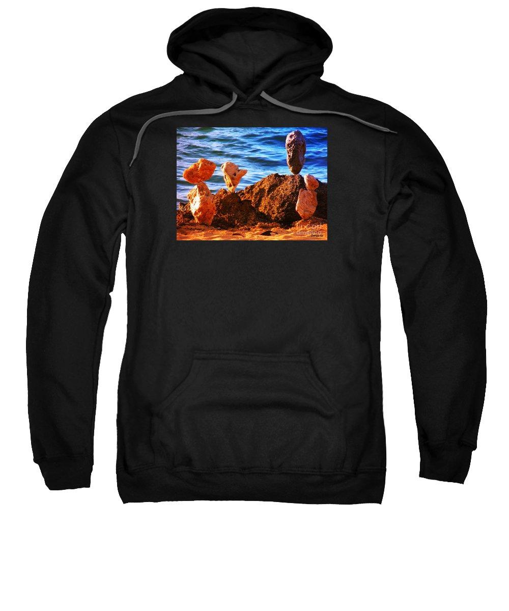 Hawaii Sweatshirt featuring the digital art Rock Stacking by Dorlea Ho