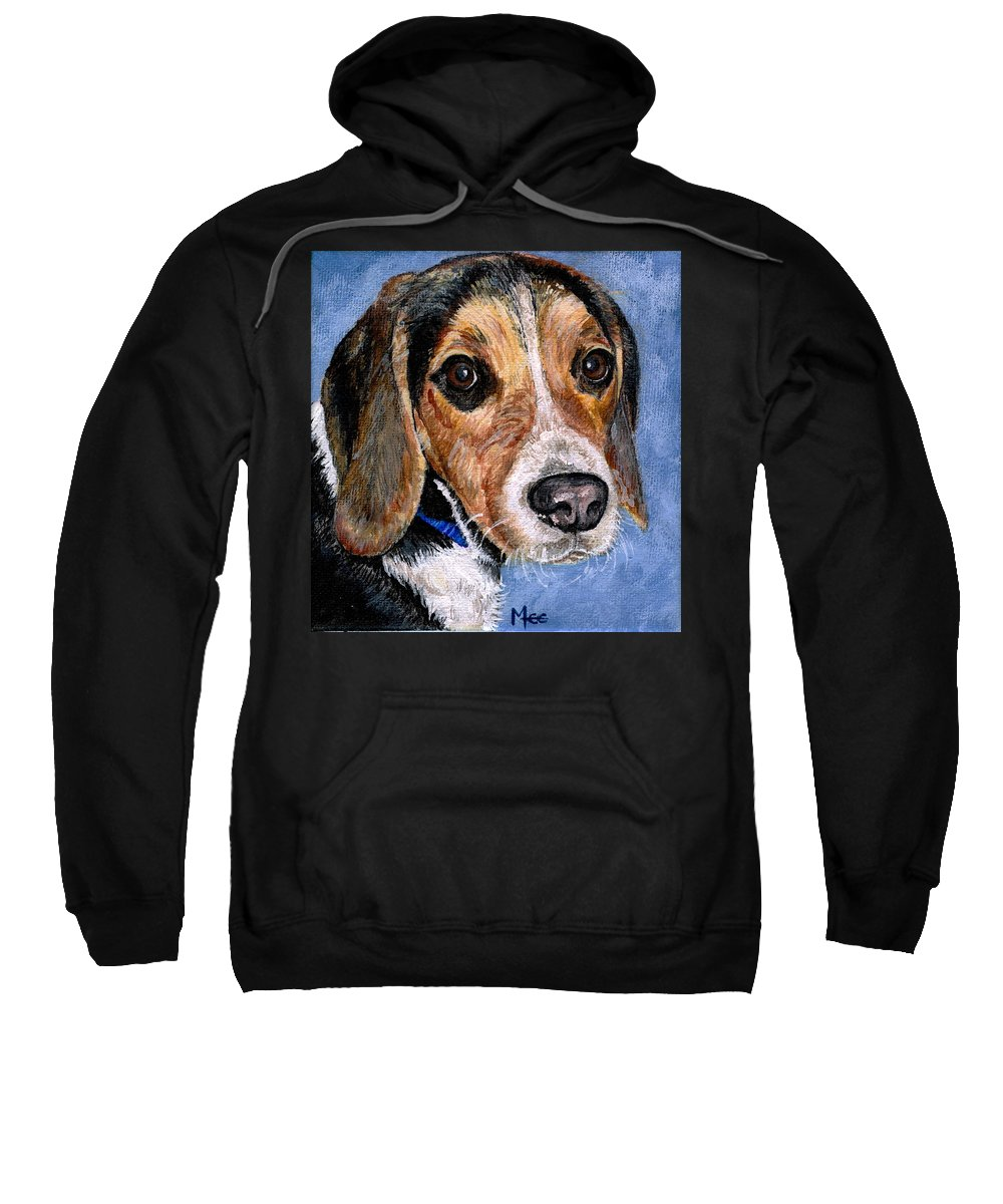 Dog Sweatshirt featuring the painting Rocky by Mary-Lee Sanders