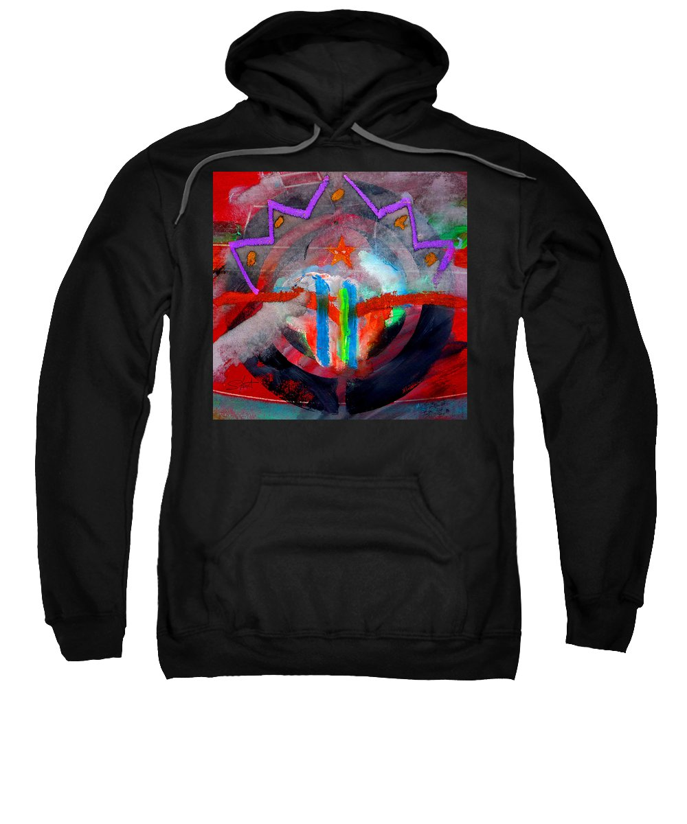 Button Sweatshirt featuring the painting Rocky Mountain Pass by Charles Stuart