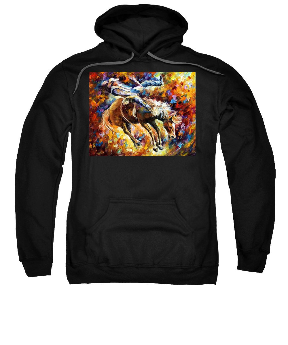 Afremov Sweatshirt featuring the painting Rodeo by Leonid Afremov