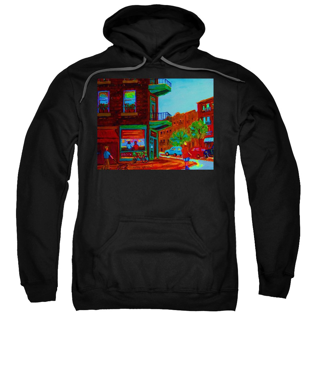 Wilenskys Sweatshirt featuring the painting Rollerblading Past The Cafe by Carole Spandau