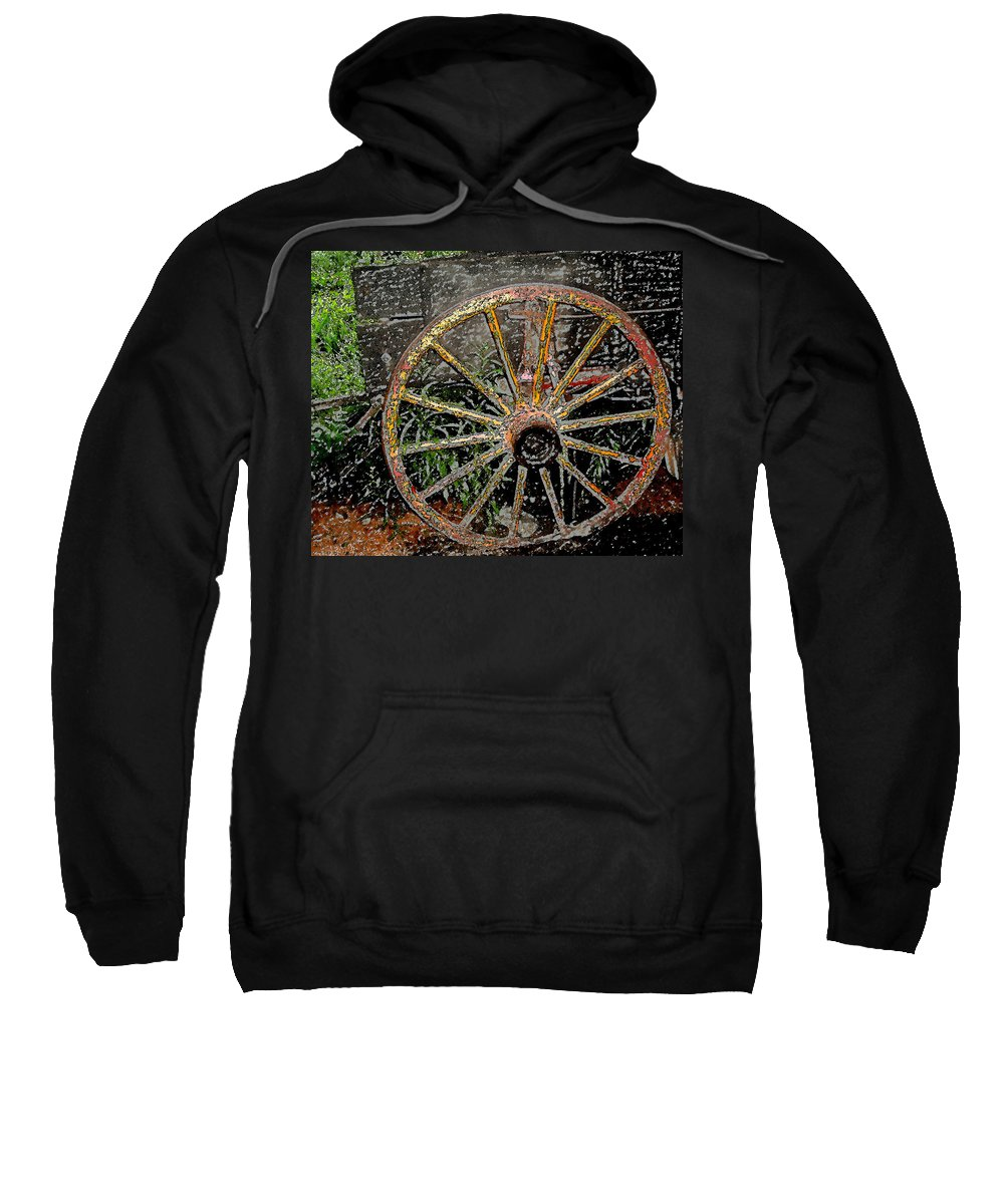 Wagon Wheel Sweatshirt featuring the photograph Rolling No More by Wayne Potrafka