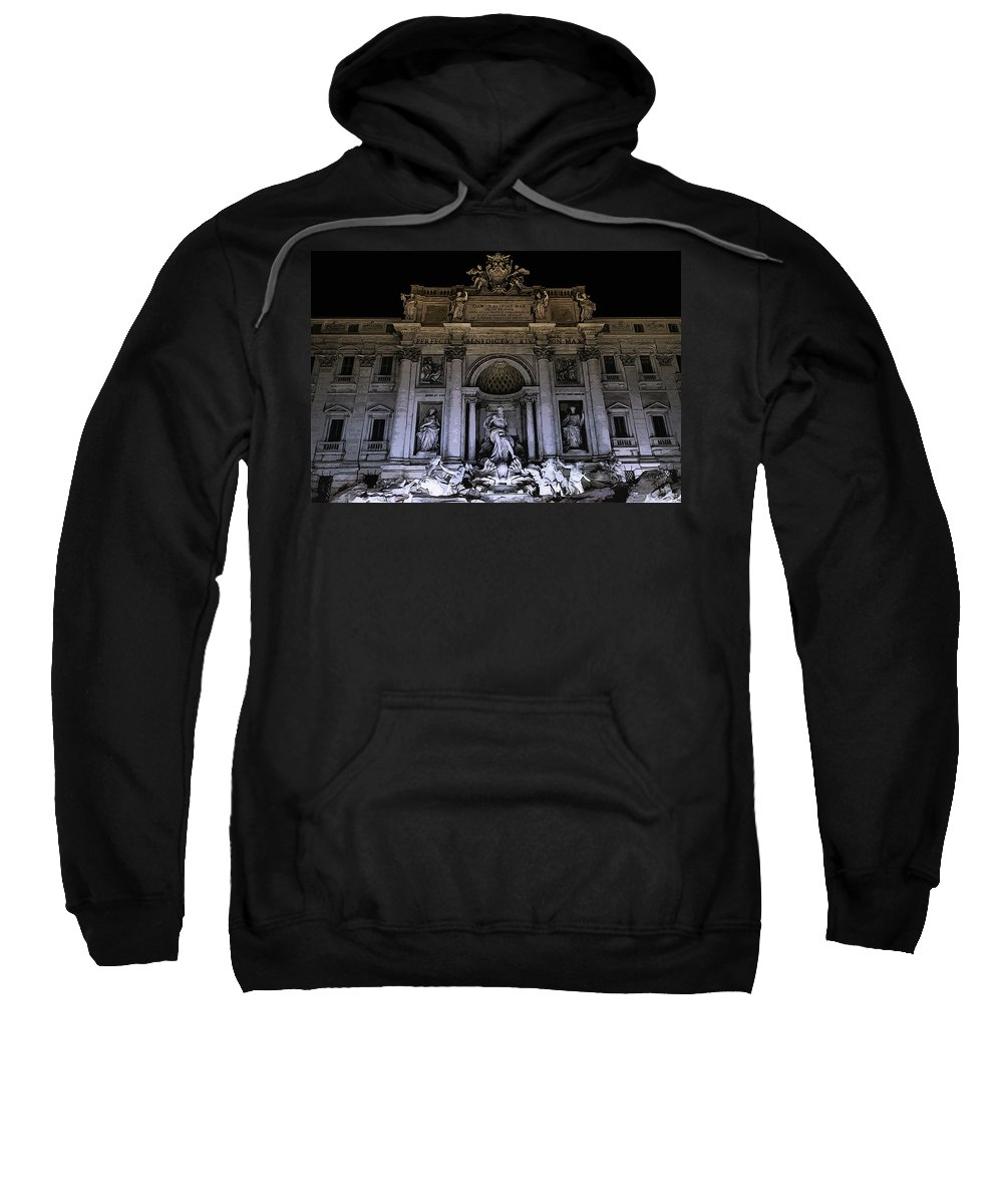 Italy Sweatshirt featuring the painting Rome, Trevi Fountain At Night by Andrea Mazzocchetti