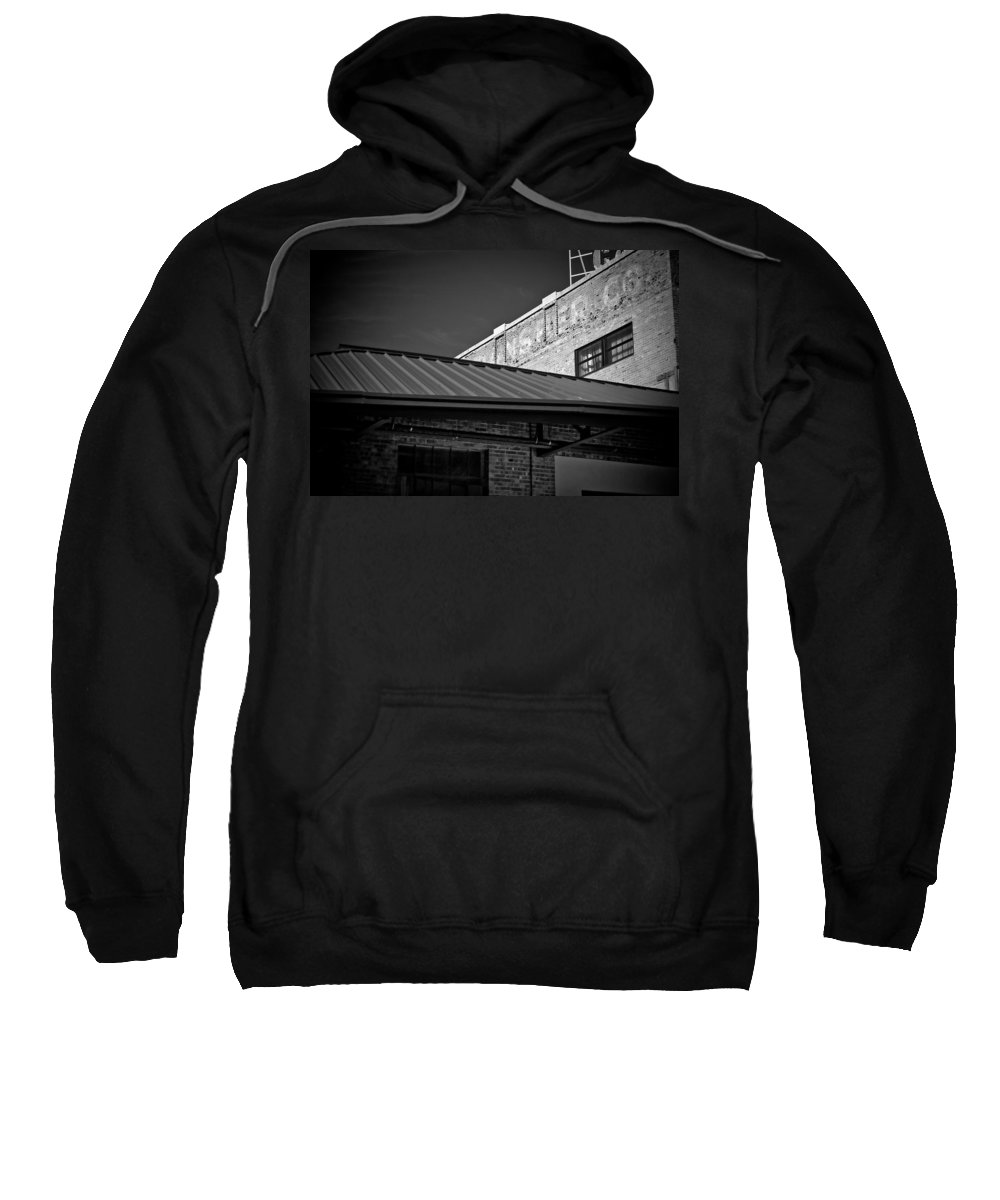 Black And White Photograph Sweatshirt featuring the photograph Roof And Brick by Mike Oistad