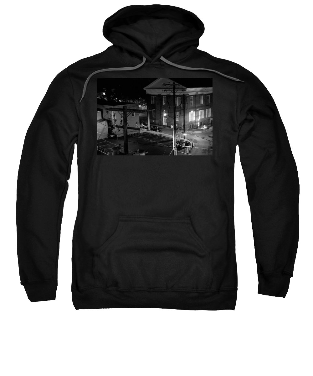 Black White Sweatshirt featuring the photograph Rooftop Court by Jean Macaluso