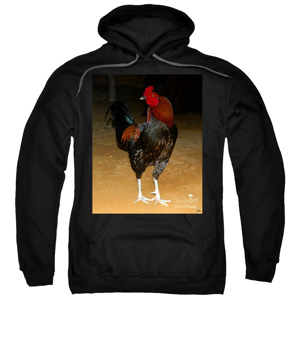 Rooster Sweatshirt featuring the painting Rooster by David Lee Thompson