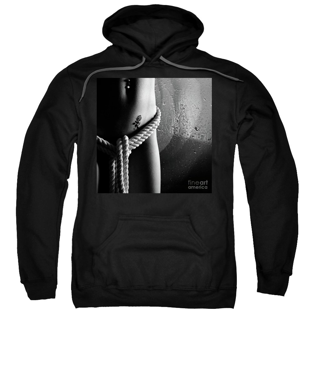Nude Sweatshirt featuring the photograph Ropes Over Nude Woman Body by Oleksiy Maksymenko