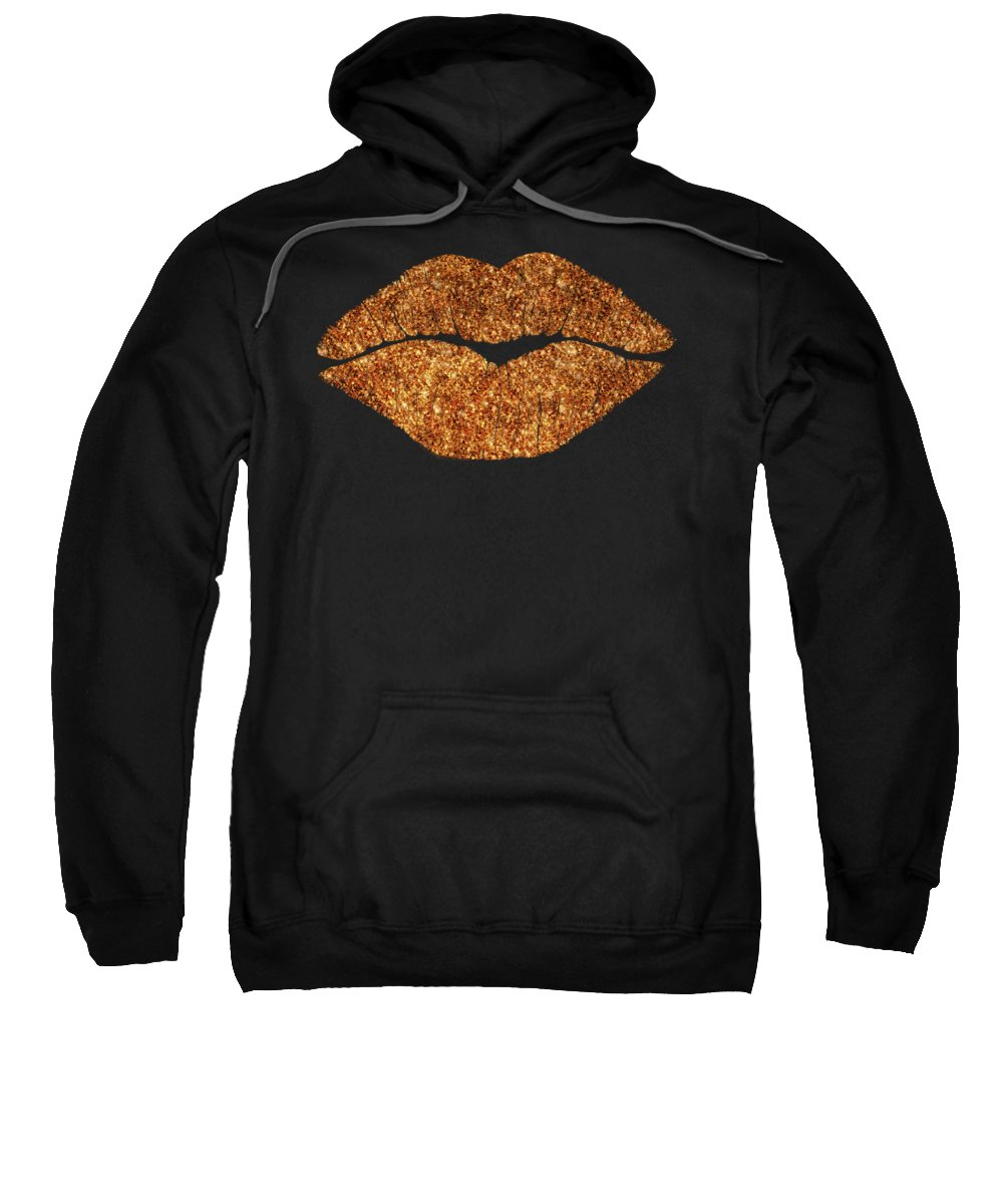 Rose Gold Kiss Sweatshirt featuring the painting Rose Gold Texture Kiss, Lipstick On Pouty Lips, Fashion Art by Tina Lavoie