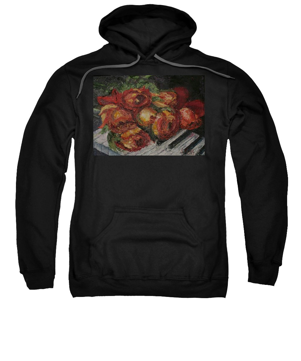 Still Life Sweatshirt featuring the painting Rose Melody by Stephen King