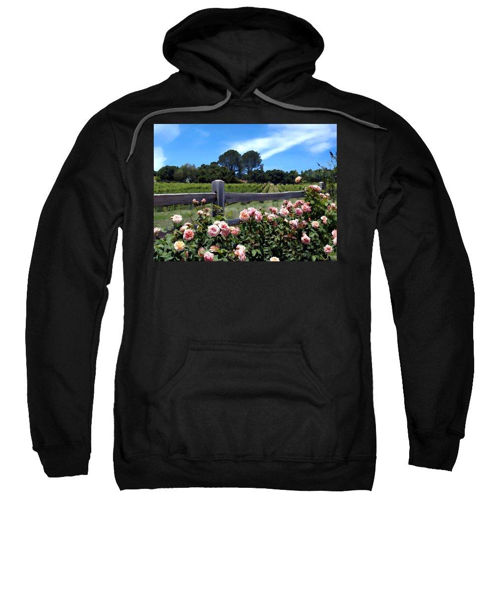 Flowers Sweatshirt featuring the photograph Roses At Rusack Vineyards by Kurt Van Wagner