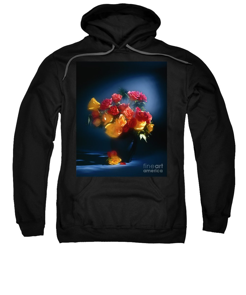 Arty Sweatshirt featuring the photograph Roses In The Blue by Stefania Levi