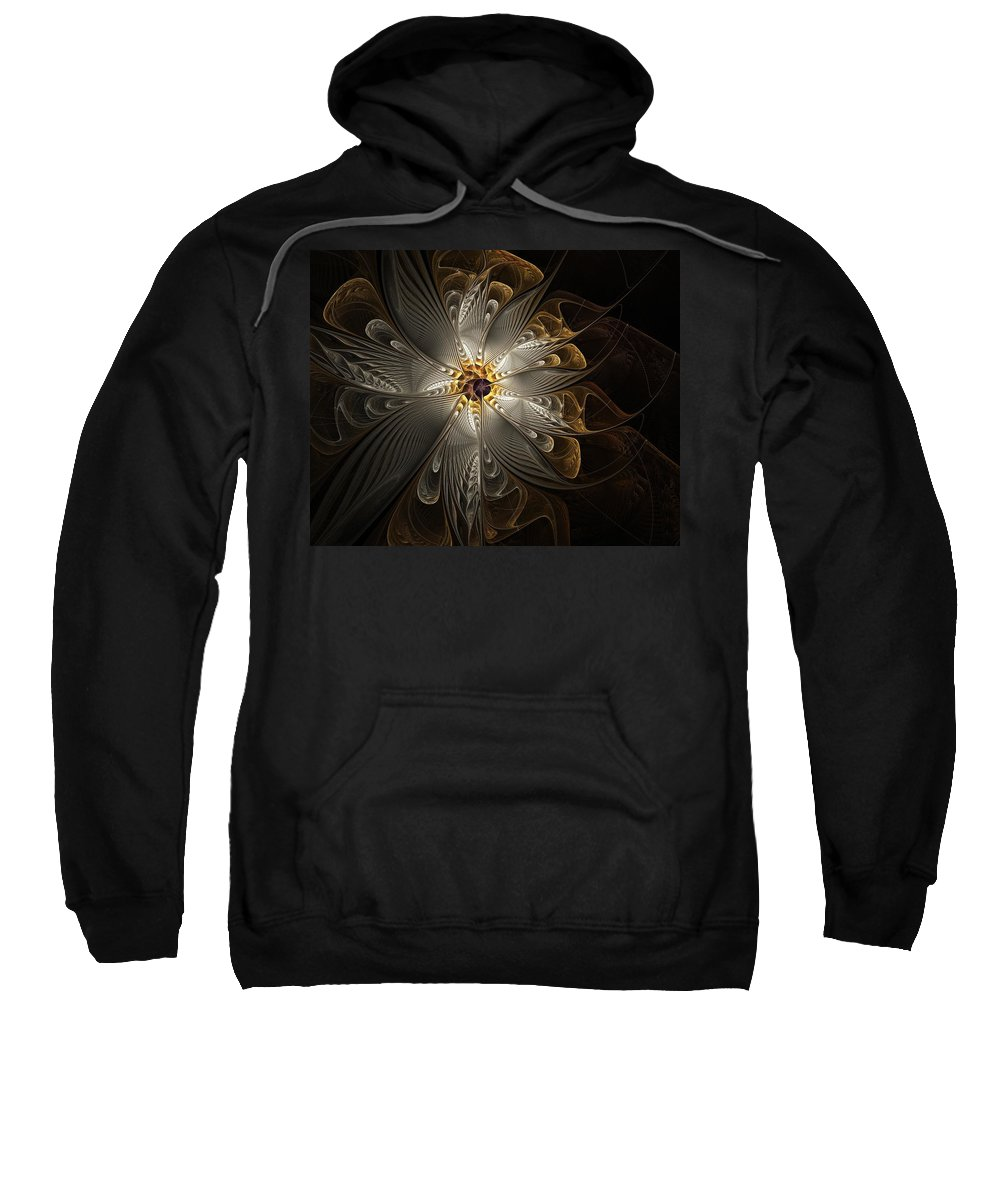 Digital Art Sweatshirt featuring the digital art Rosette In Gold And Silver by Amanda Moore