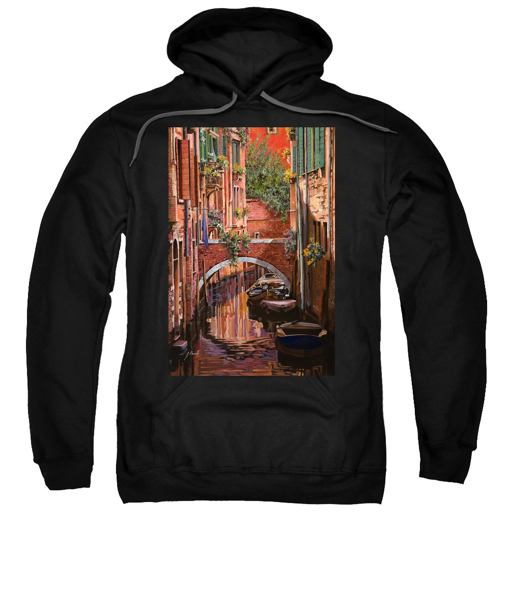 Venice Sweatshirt featuring the painting Rosso Veneziano by Guido Borelli