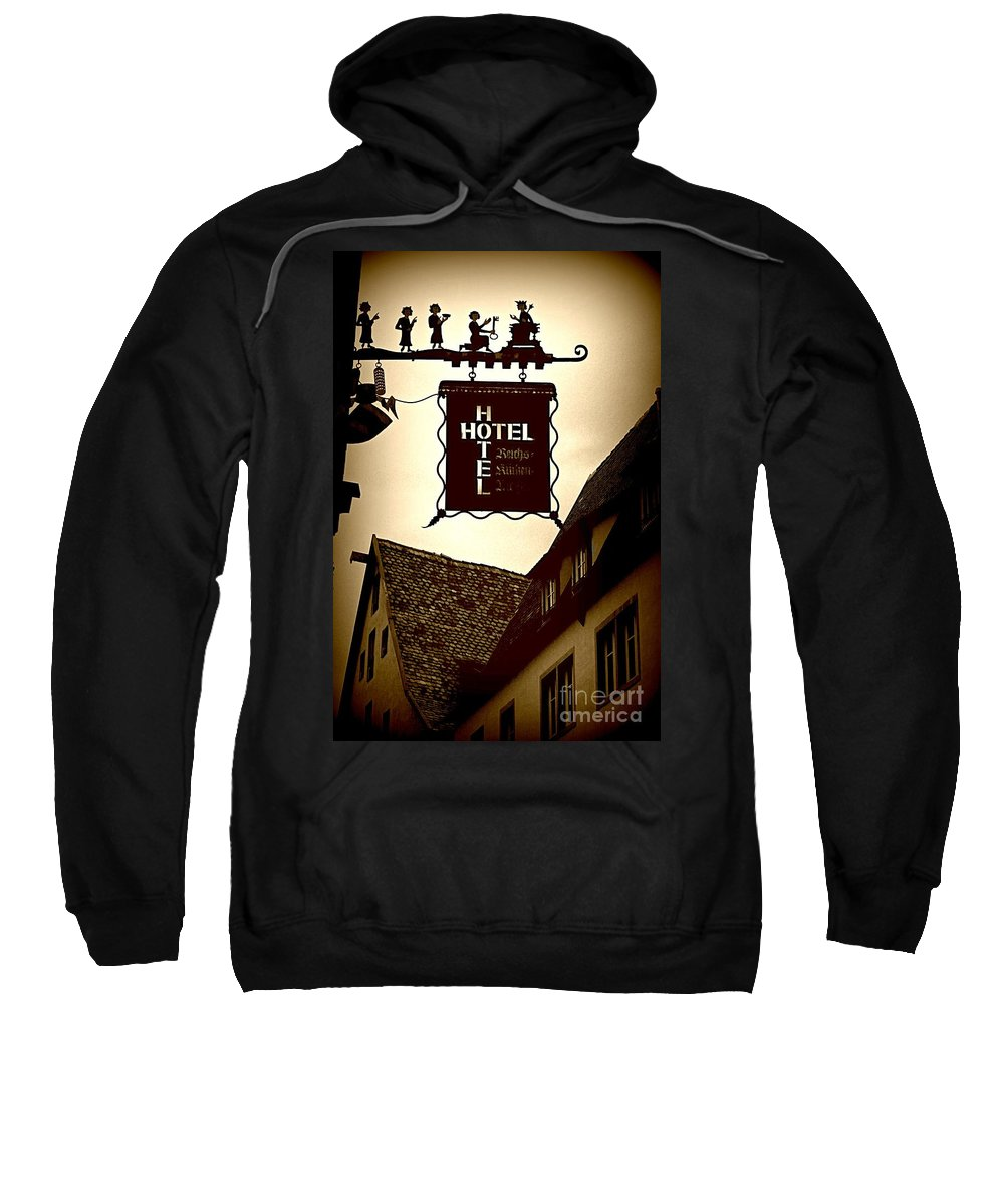 Hotel Sign Sweatshirt featuring the photograph Rothenburg Hotel Sign - Digital by Carol Groenen