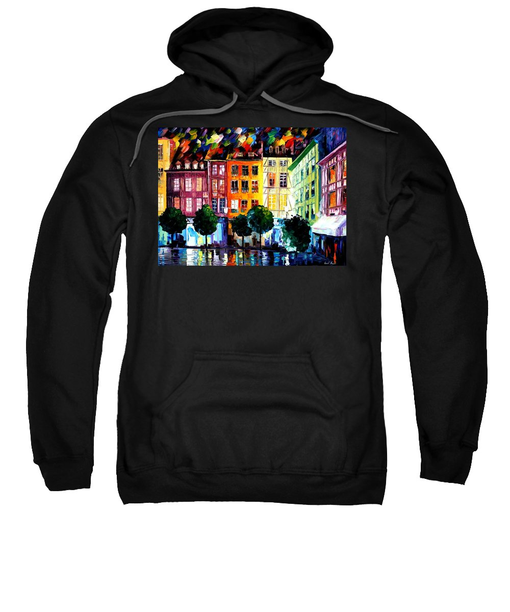 Afremov Sweatshirt featuring the painting Rouin France by Leonid Afremov