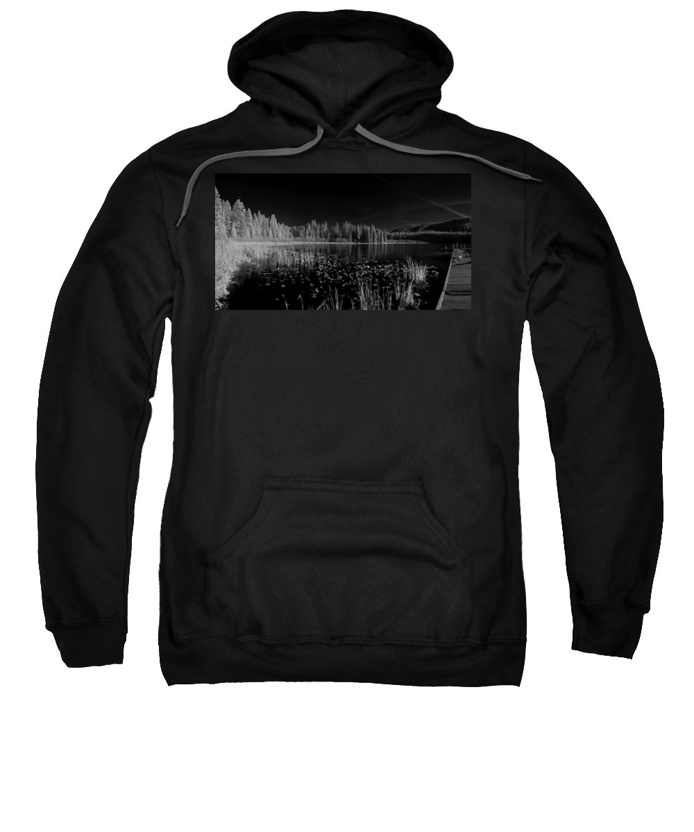 B&w Sweatshirt featuring the photograph Round Lake State Park Idaho by Lee Santa