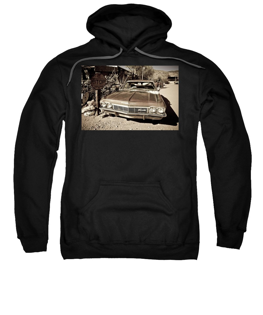 Notice Sweatshirt featuring the photograph Route 66-69 by Avril Christophe