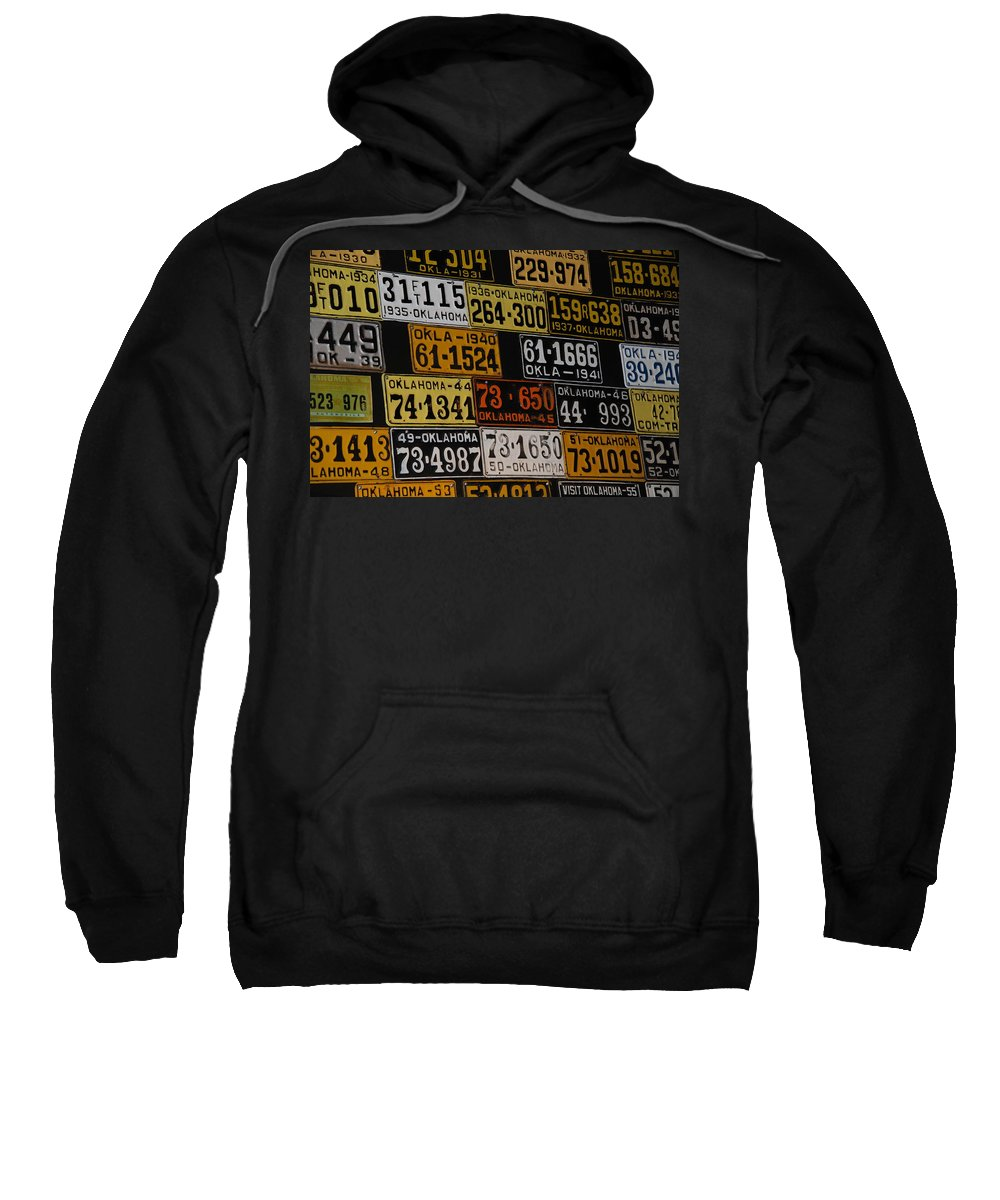 Route 66 Sweatshirt featuring the photograph Route 66 Oklahoma Car Tags by Susanne Van Hulst