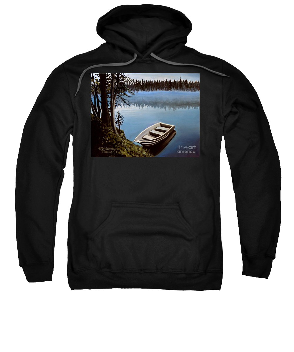 Landscape Sweatshirt featuring the painting Row Boat In The Fog by Elizabeth Robinette Tyndall