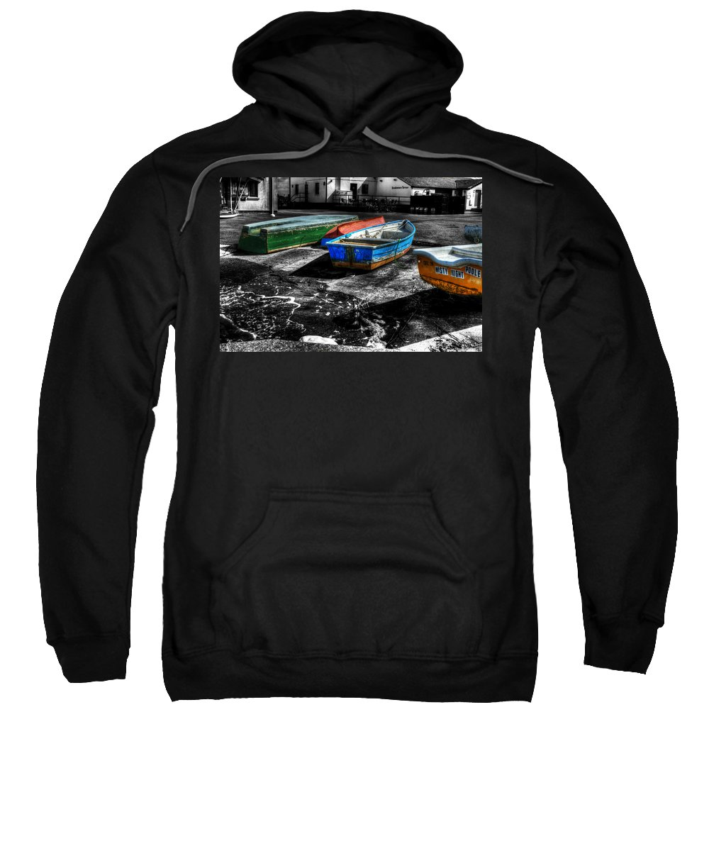 Rowing Sweatshirt featuring the photograph Row Boats At Mudeford by Chris Day