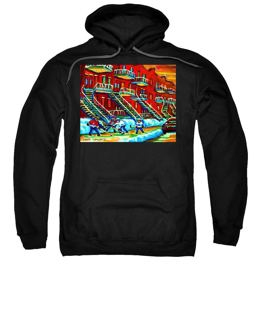 Hockey Sweatshirt featuring the painting Rowhouses And Hockey by Carole Spandau