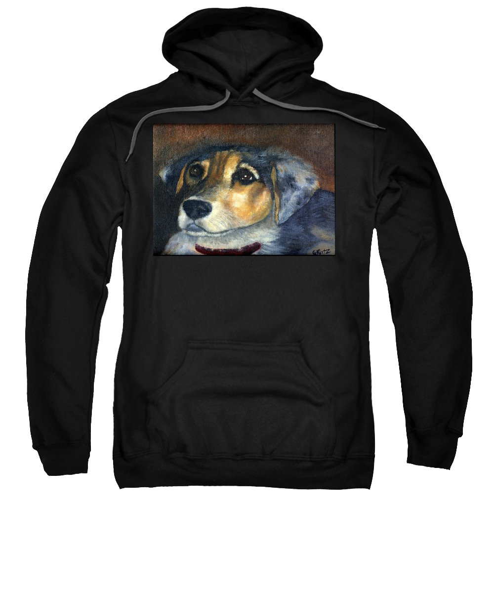 Dog Sweatshirt featuring the painting Roxie by Gail Kirtz
