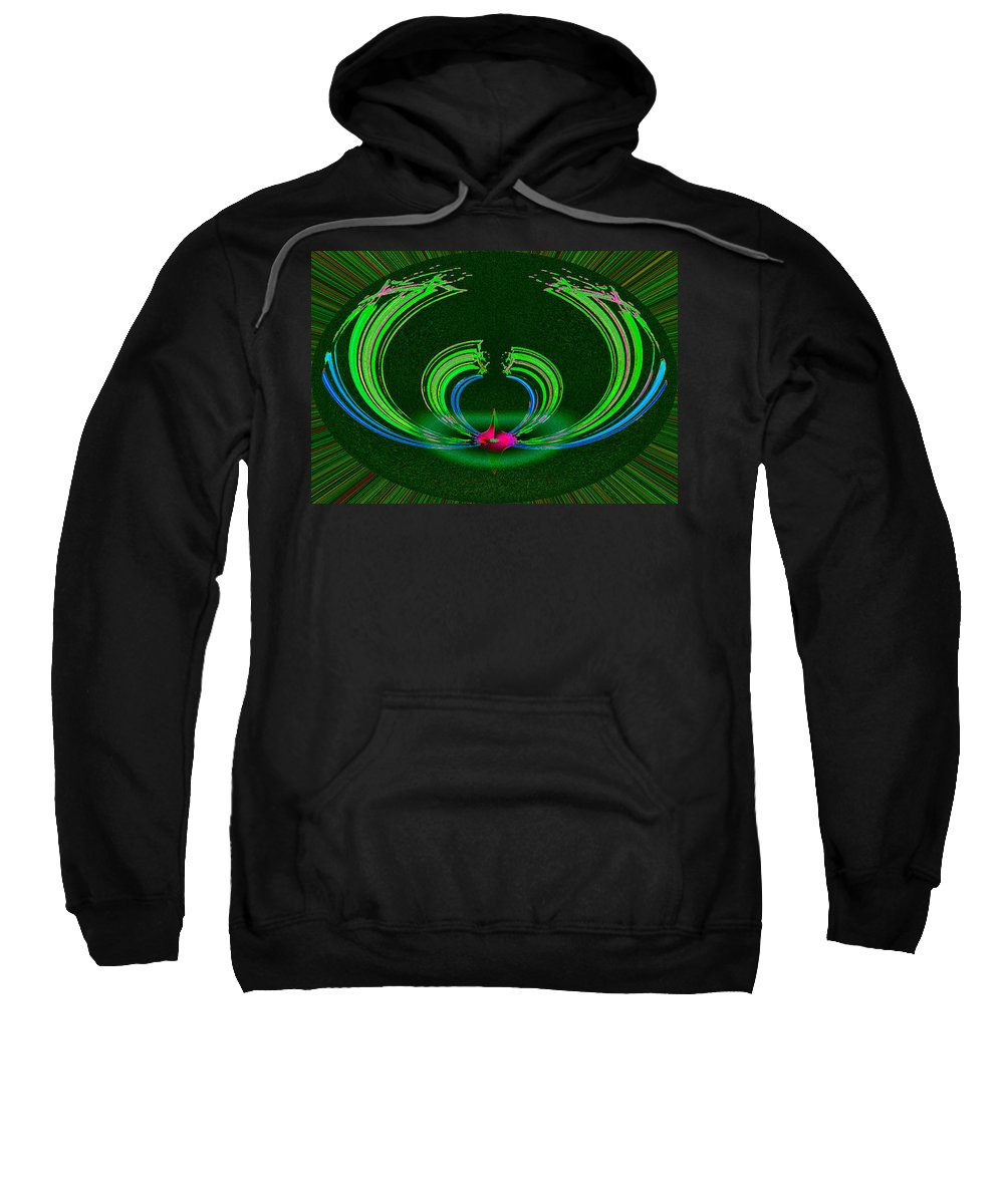 Ruby Sweatshirt featuring the digital art Ruby Singularity In Emerald Sapphire Nest by Don Quackenbush