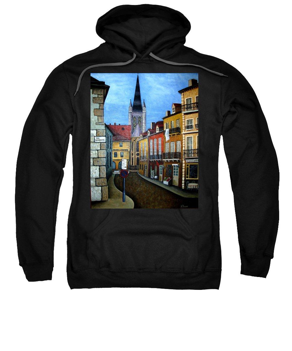 Street Scene Sweatshirt featuring the painting Rue Lamonnoye In Dijon France by Nancy Mueller