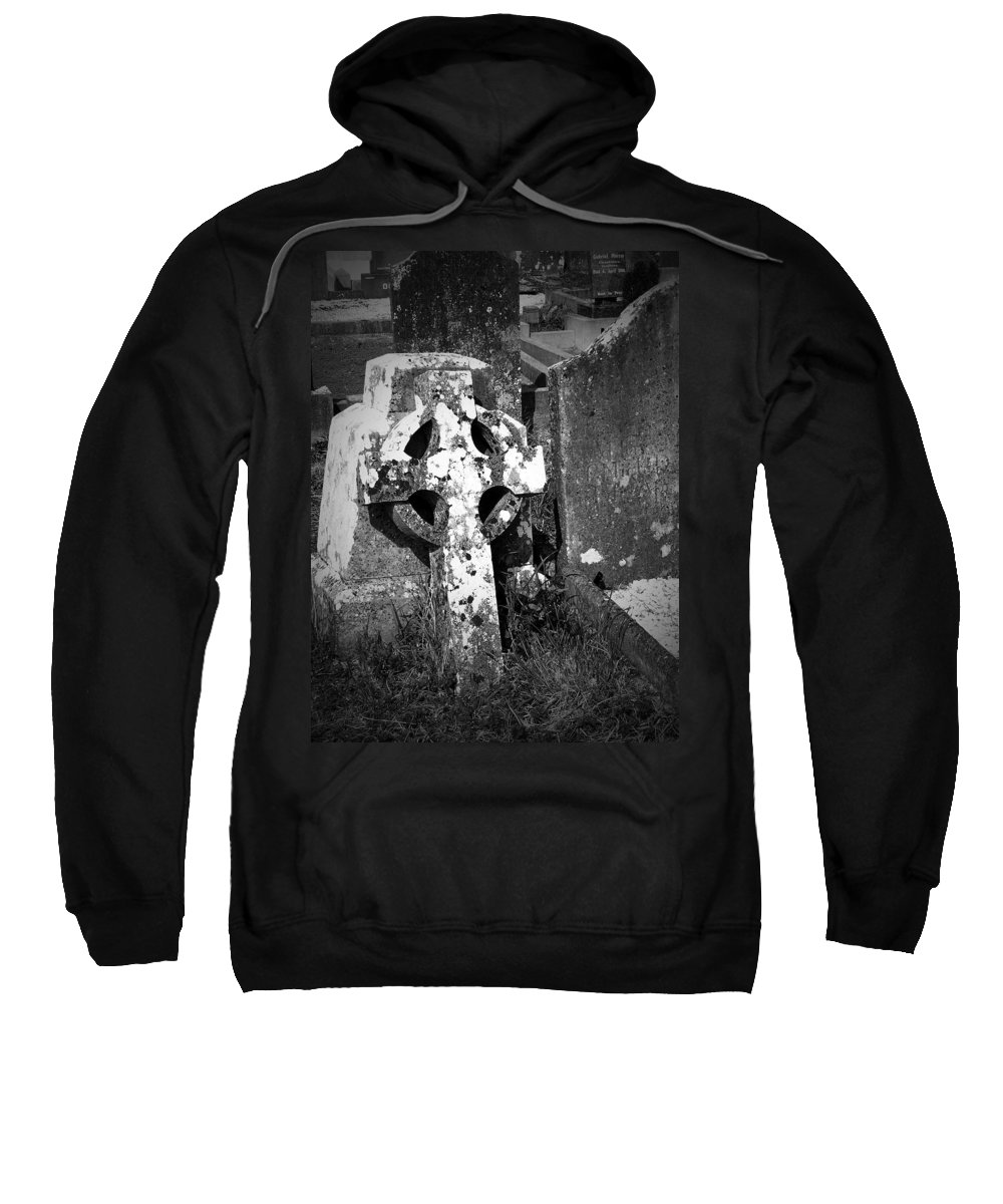 Celtic Sweatshirt featuring the photograph Rugged Cross At Fuerty Cemetery Roscommon Ireland by Teresa Mucha