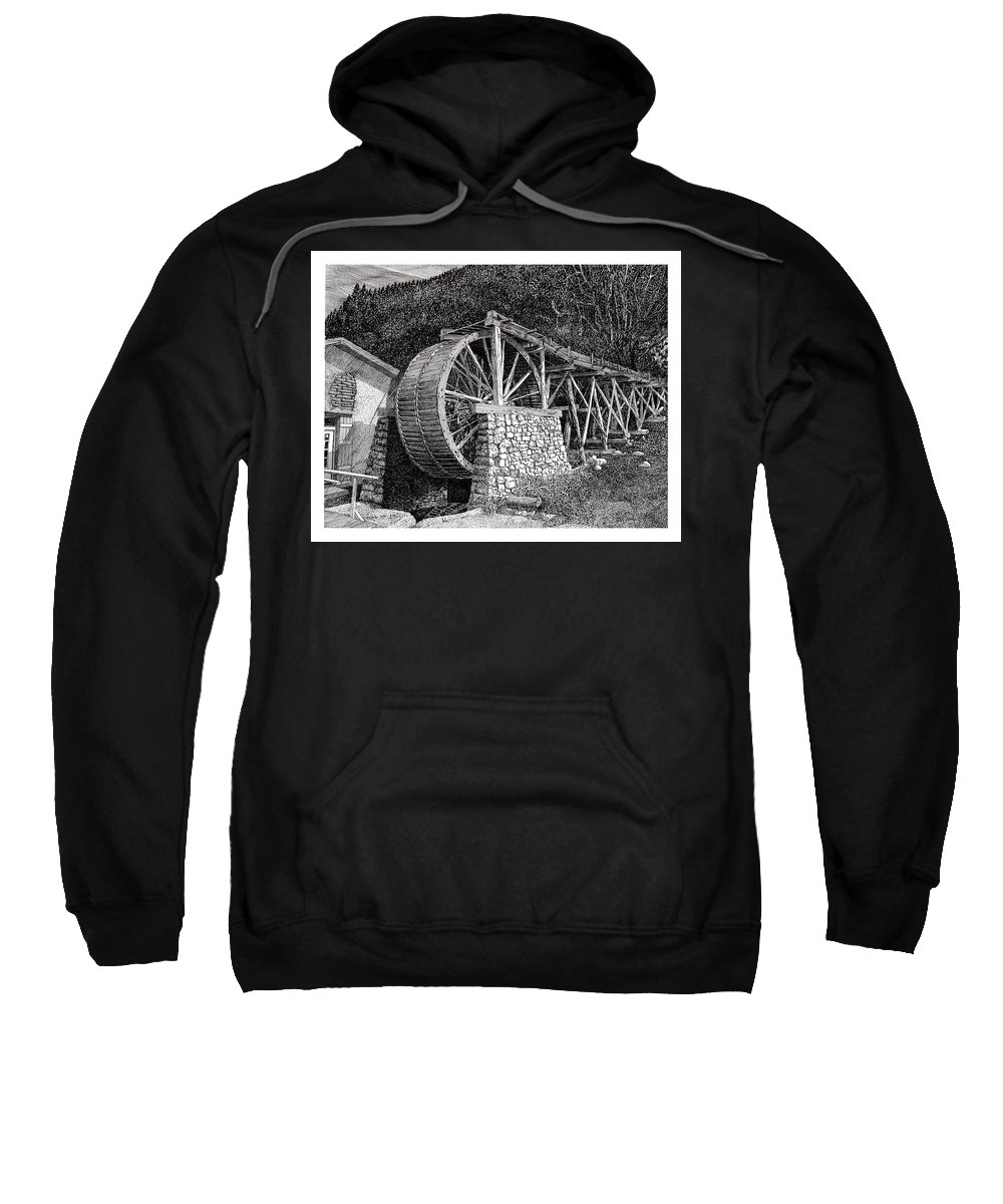 Images Of Ruidoso Waterwheel Scenic Structures Sweatshirt featuring the drawing Ruidoso Waterwheel by Jack Pumphrey