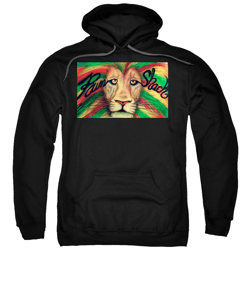 Rum Shack Sweatshirt featuring the painting Rum Shack Zen Lion by Maria Hatefi