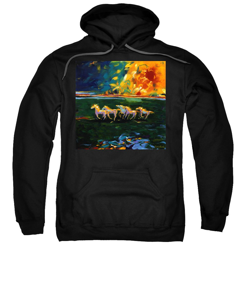 Abstract Horse Sweatshirt featuring the painting Run From The Sun by Lance Headlee