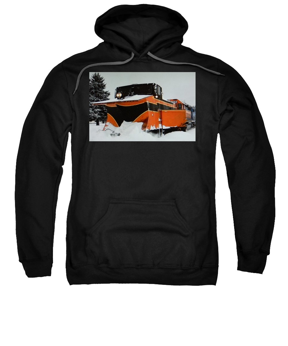 Russell Sweatshirt featuring the photograph Russell Train Snow Plow by Jason Asselin