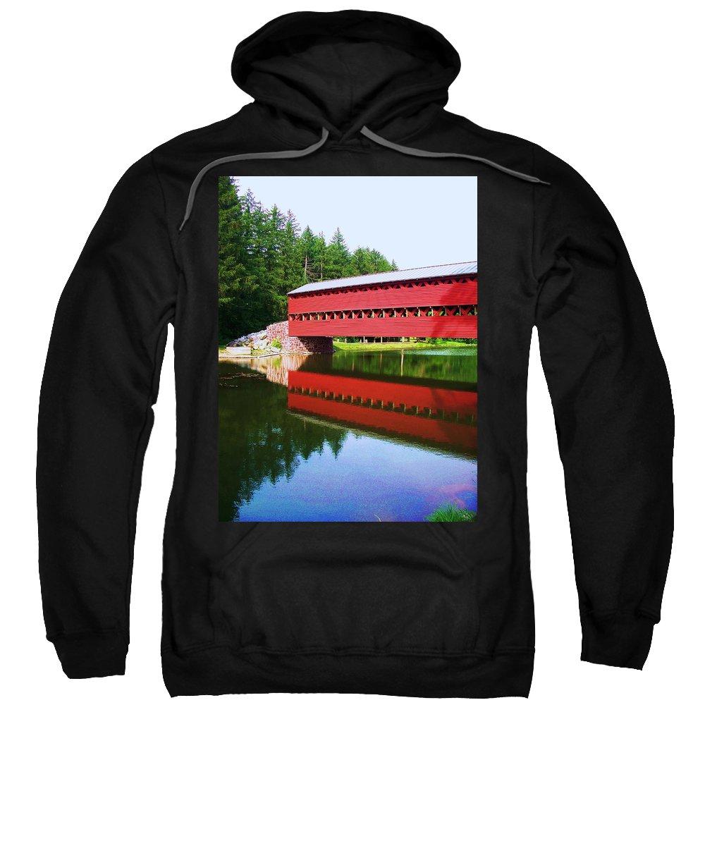 Sachs Bridge Sweatshirt featuring the painting Sachs Bridge by Eric Schiabor