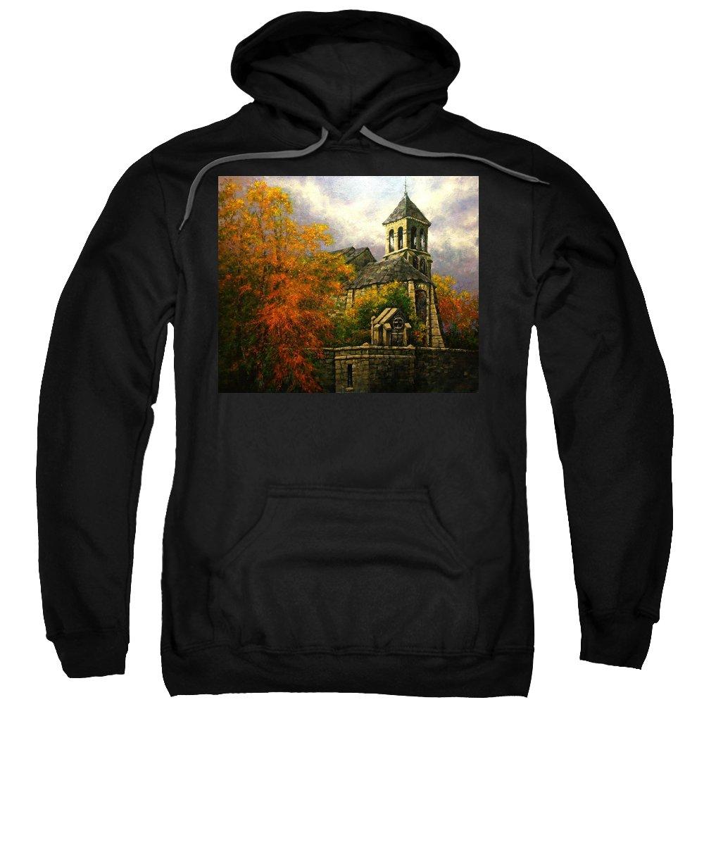 Paris Sweatshirt featuring the painting Sacred Heart Chapel Paris by Jim Gola
