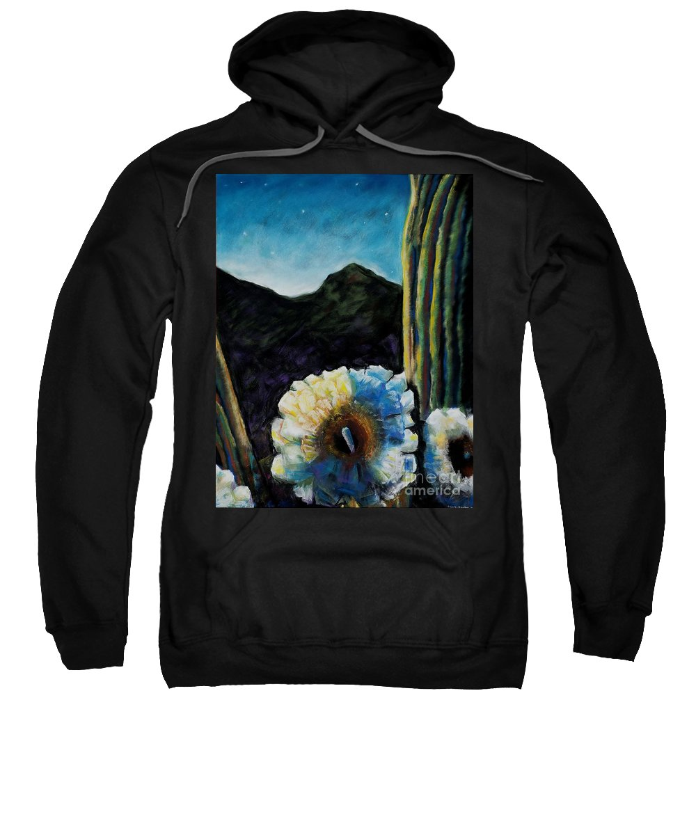 Desert Sweatshirt featuring the painting Saguaro In Bloom by Frances Marino