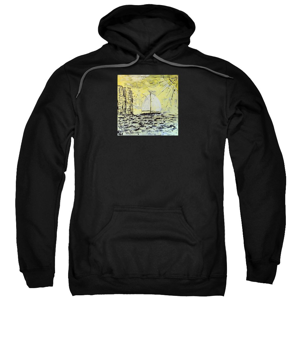 Abstract Sweatshirt featuring the painting Sail And Sunrays by J R Seymour