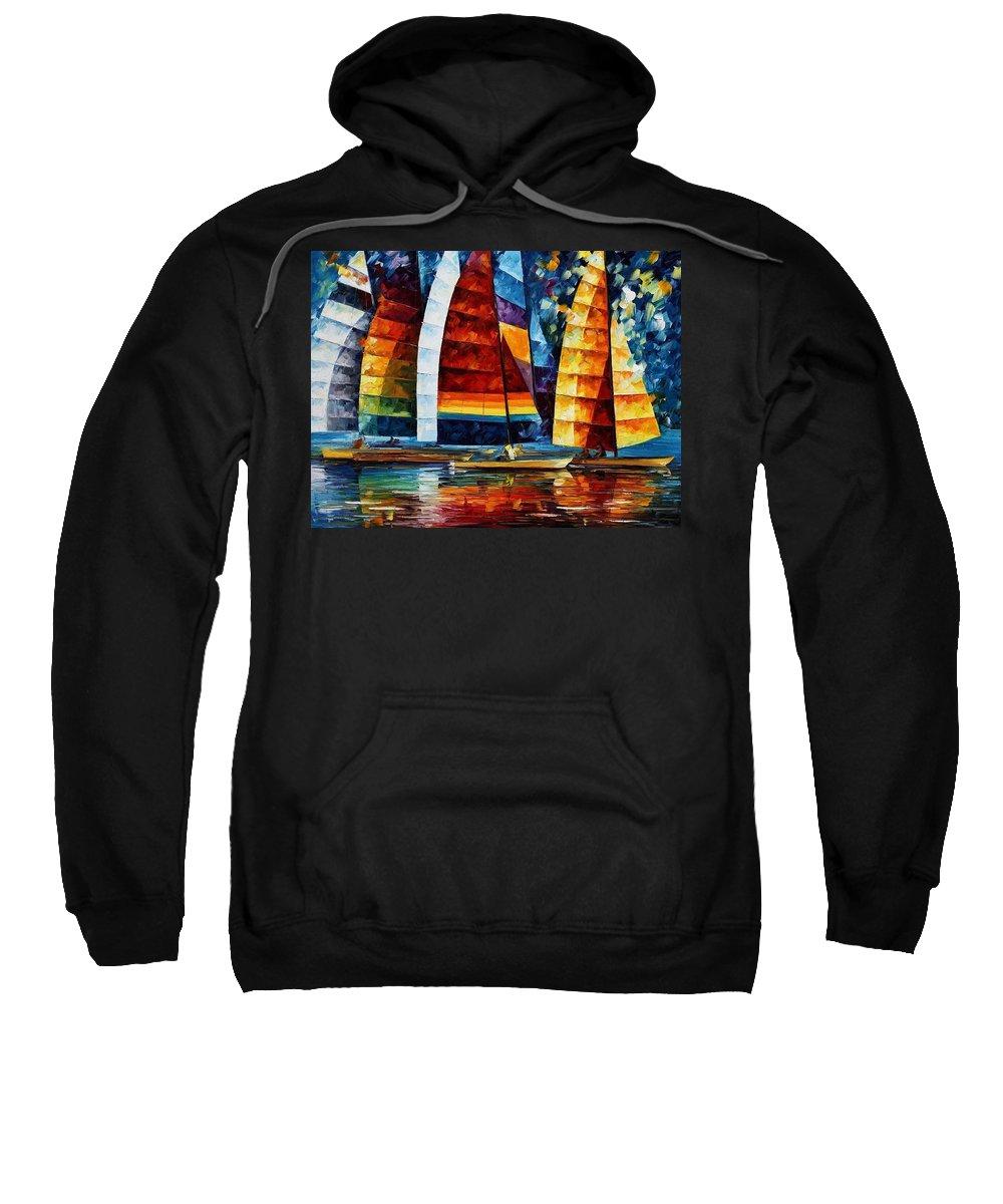 Afremov Sweatshirt featuring the painting Sail Regatta by Leonid Afremov