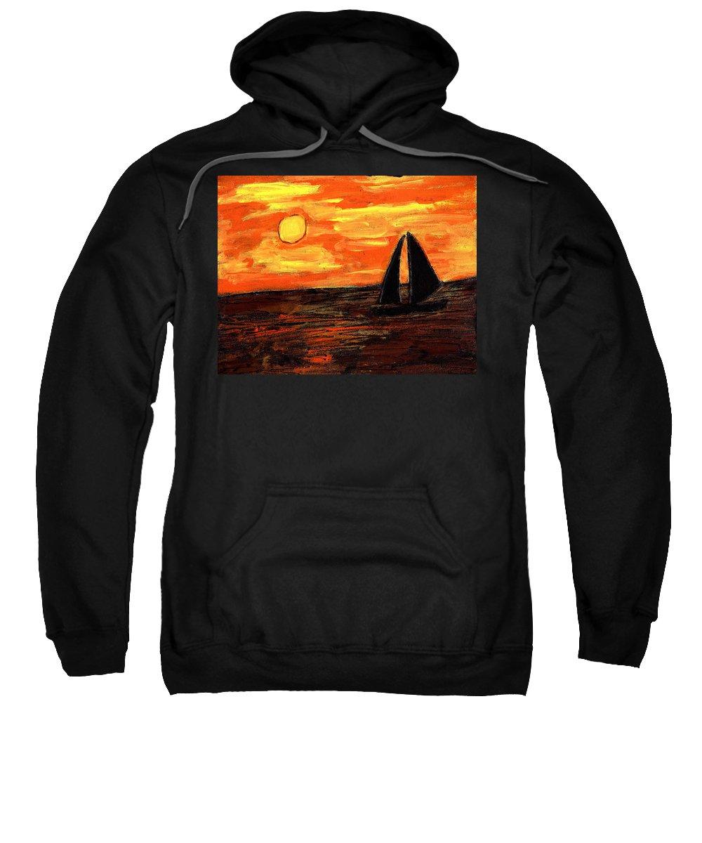 Sailing Sweatshirt featuring the painting Sailing Home At Sunset by Wayne Potrafka