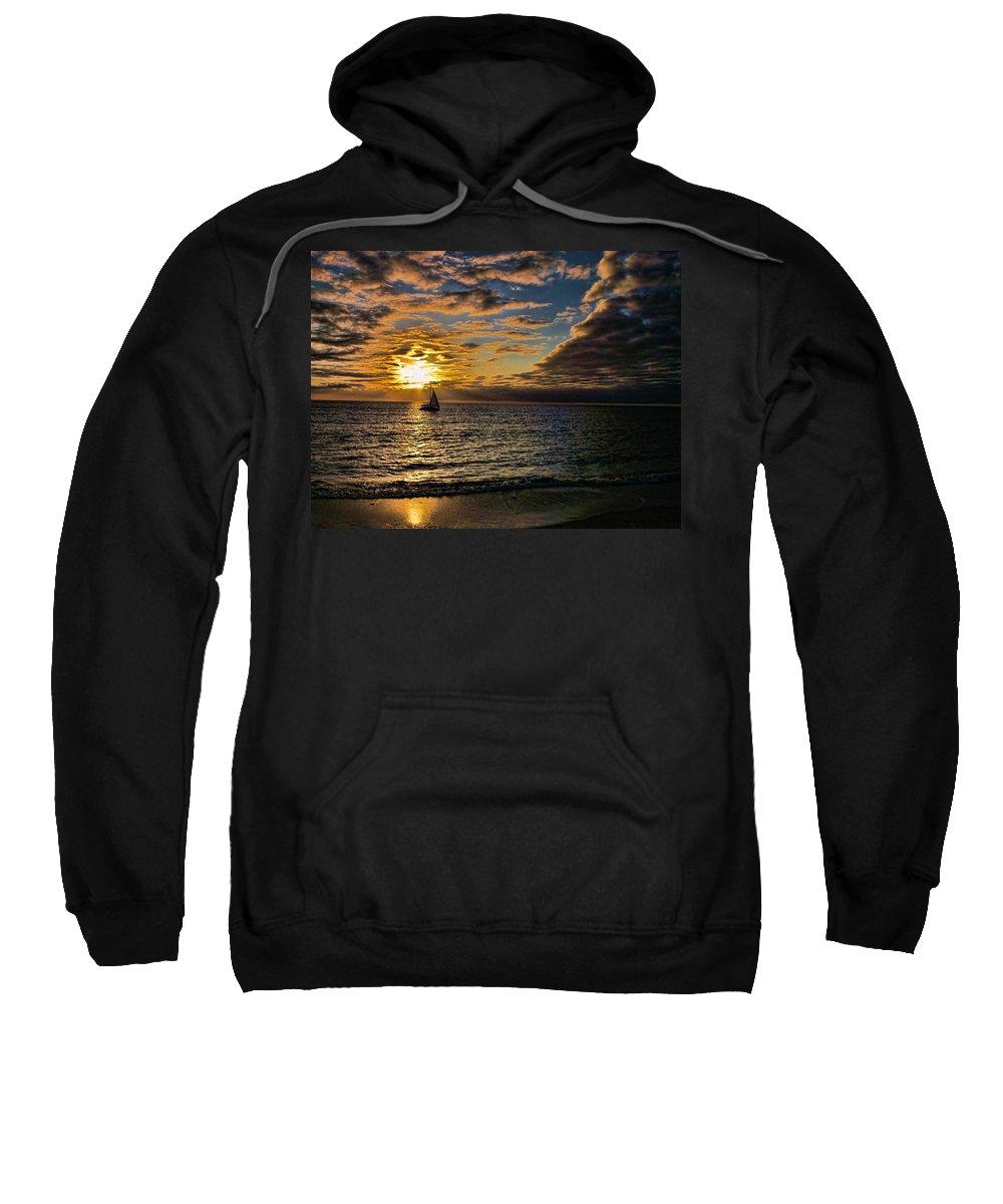 Yacht Sweatshirt featuring the photograph Sailing Into The Sun by Douglas Barnard