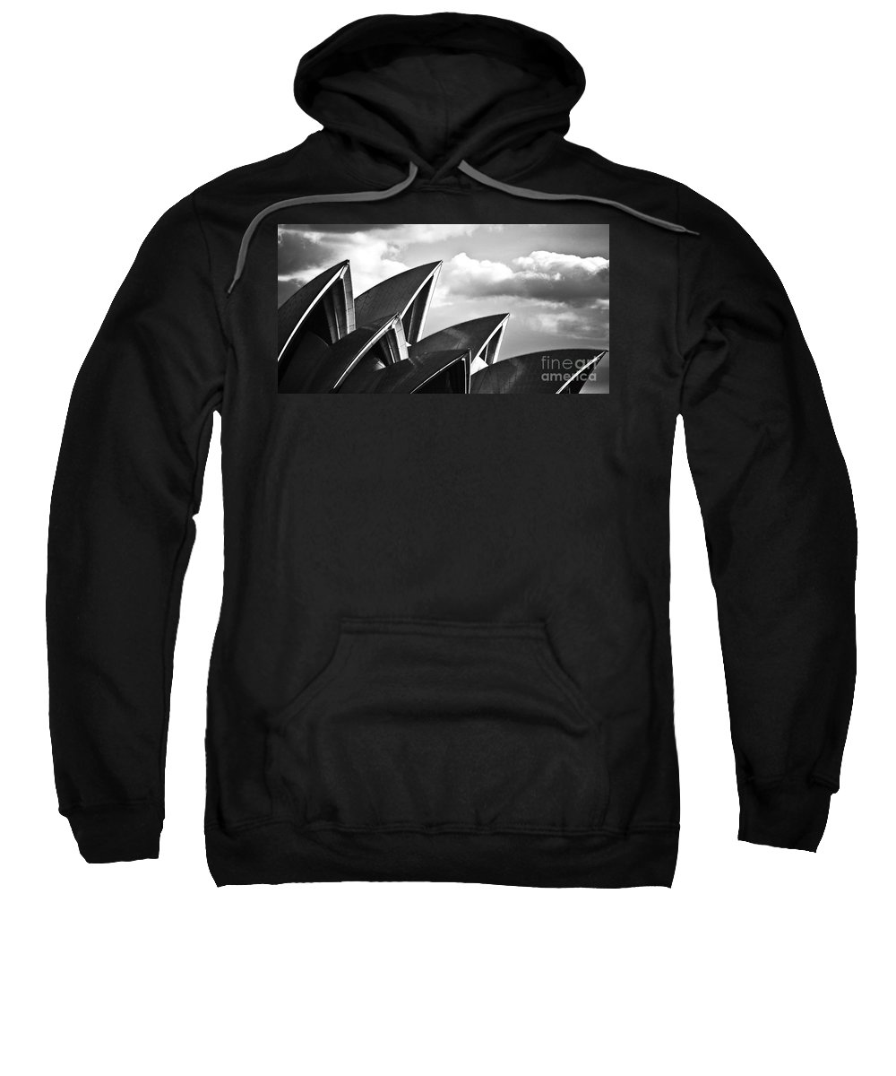 Sydney Opera House Monochrome Black And White Icon Sweatshirt featuring the photograph Sails Of Sydney Opera House by Sheila Smart Fine Art Photography