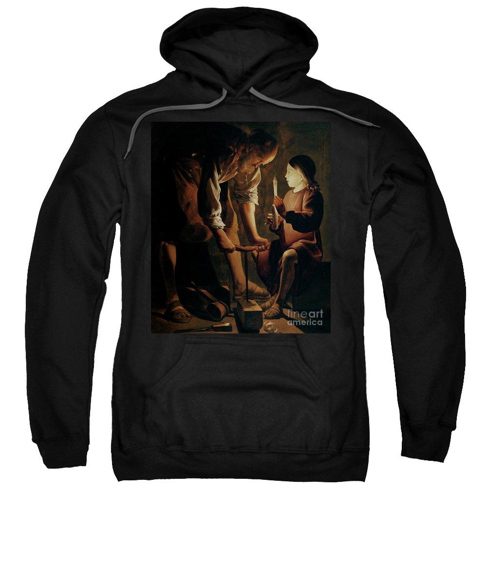Georges De La Tour Sweatshirt featuring the painting Saint Joseph The Carpenter by Georges de la Tour